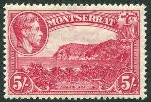MONTSERRAT-1938-48 5/- Rose-Carmine Perf 13 Sg 110 MOUNTED MINT V35231