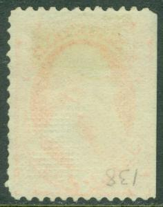 EDW1949SELL : USA 1870 Scott #138 Used. Very nice Sound stamp PSAG Cert Cat $550