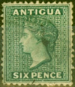 Antigua 1876 6d Blue-Green SG15x Wmk Reversed Fine Used