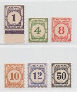 Malaya Malayan Postal Union - 1936 - SG D1-D6 - MNH