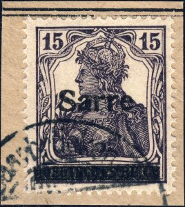 SARRE / SAARGEBIET - 1920 Mi.7.a.I 15pf schwarzlichgrauviolett O/P t.I - VF Used