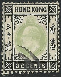 Hong Kong Scott #99 Used 30c Stamp Light Cancel