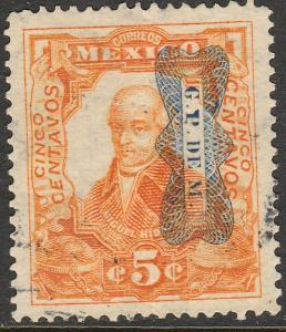 MEXICO 521Var 5c CORBATA REVOLUTIONARY OVERPRINT USED F-VF. (29)