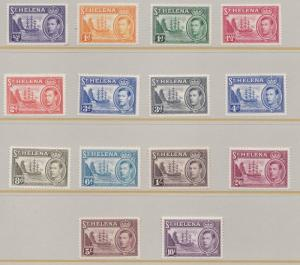 ST HELENA  1938  S G 131 - 140    SET OF 14  TO 10/-  LMH CAT £140