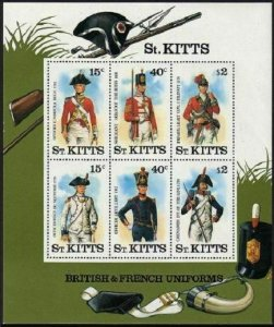St Kitts 203a sheet,MNH.Michel Bl.6. British,French Uniforms,1987.
