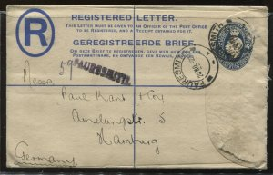 South Africa 1922 registered envelope to Hamburg Germany