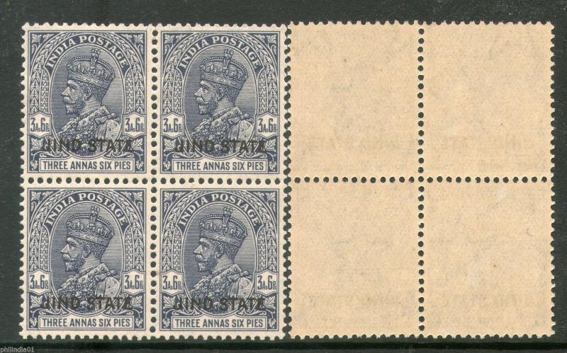 India JIND / JHIND State KG V 3½As SG 93 / Sc 130 BLK/4 Cat £18 MNH