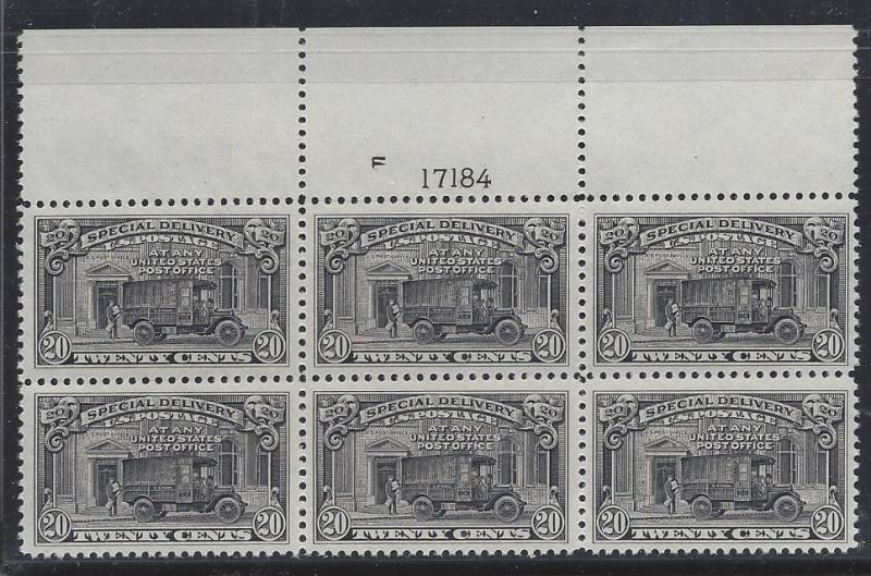 United States, E14,Special Delivery Plate Block of 6 #F17184 TOP,**MNH** (LibS2)