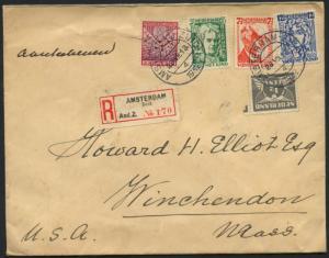 AMSTERDAM TO MASSACHUSETTS ON REGISTERED COVER 1932 BL1623