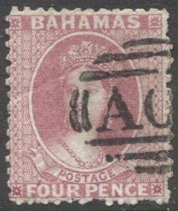 BAHAMAS 1863 Sc 13, used 4d QV, crease, Split Wmk, AO5 ? cancel, cv $75