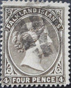 Falkland Islands 1895 QV 4d SG 32 used