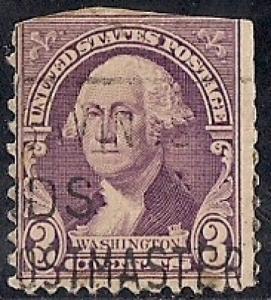 720 3 cent Washington, Deep Violet Stamp used F