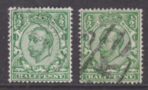 Great Britain SG 346, 346a used 1912 ½p KGV, No Cross in Crown variety + normal