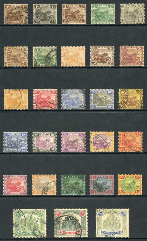 Federated Malay States SG52/81 Set of 30 plus shades