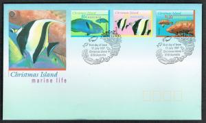 Christmas Is. Fishes Marine Life 3v FDC 3rd series SG#416=420