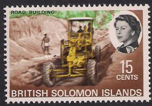 British Solomon Islands 1968 QE2 15ct Road Building Umm SG 174 ( L1429 )