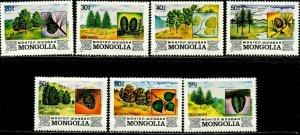 MONGOLIA Sc#1264-1270 1982 Forest Trees Complete Set OG Mint NH