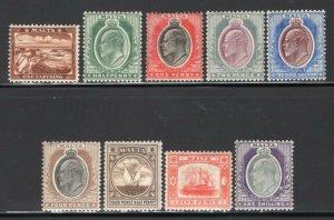 Malta 1904-05 E7 Wmk Crown CA Multiple Set of 9 Mint H CV$220