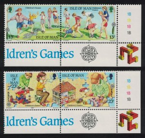 Isle of Man Children's games Europa CEPT 2 Corner pairs SG#416-419