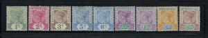 BRITISH HONDURAS SCOTT #38-46 1891-98 VICTORIA- WMK 2 PERF 14- MINT LIGHT HINGED