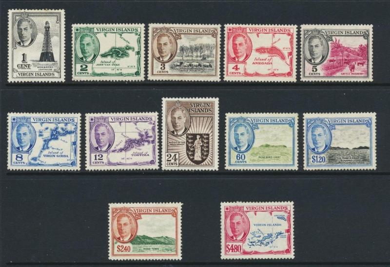 BRITISH VIRGIN IS 1952 SET  VF MLH SG#136-47 (SEE BELOW)