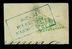 ARGENTINA 1861 Conf. 10c grn BISECT Sc# 2f on piece w/AGENCIA DEL URUGUAY RARE