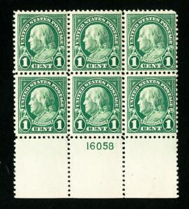 US Stamps # 552 F-VF Plate Block of 6 OG NH