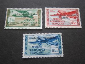French Equatorial Africa 1940 Sc 10,12,13 MH