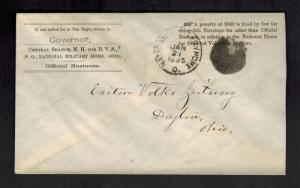1895 National Military Home Dayton OH Official Cover to  Volks Zeitung Newspaper