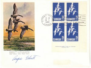 CANADA - FDC Canada Geese 15c Plate Block Signed by Artist 1963 SC415