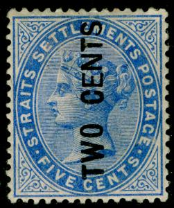 MALAYSIA - Staits Settlements SG77, 2c on 5c blue, M MINT. Cat £170.
