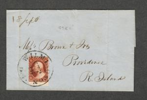 US Sc#10a Pos 97R1i 1851 Cover Wilmington Del. Sep. 16, Cv. $190