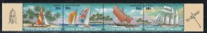 Cocos Islands # 158, Sailboats, Strip of Four, NH, 1/2 Cat.