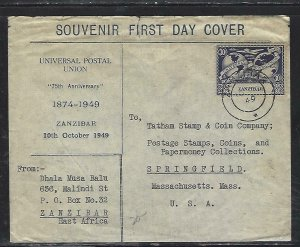 ZANZIBAR  (PP2608B)  194 9 FDC COVER  UPU 30C CACHETED TO USA