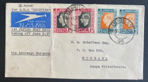 1937 Durban South Africa First Flying Boat Airmail Cover to Mombasa Kenya