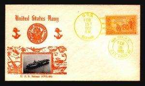 US 1951 USS Batan Crosby Cacheted Cover / UA - L4743