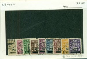 NORWAY #136-44, Used, Scott $32.50