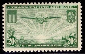 US Stamp #C21 20c Green China Clipper MINT NH SCV $10.00