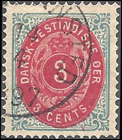 Danish West Indies 6e Used... SCV $20.00... XF