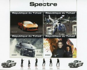 Chad James Bond Stamps 2020 MNH Spectre Daniel Craig Cars Helicopters 4v M/S