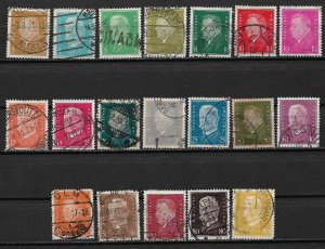1928-32 Germany 366-84 Friedrich Ebert & Paul von Hindenburg C/S of 18 used.