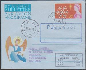 GB NORWAY 1966 MS DEVONIA  ship cover, GB airletter NARVIK PAQUEBOT.........1068
