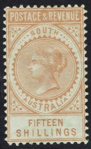 SOUTH AUSTRALIA 1886 QV POSTAGE & REVENUE 15/- PERF 10