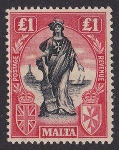 Malta 1922 Allegorical Figure £1 MNH ** watermark Multiple Script CA upright