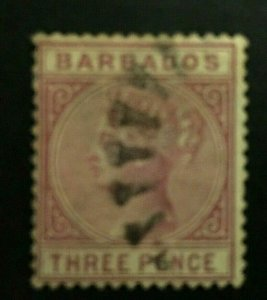 Barbados: 1882, Three Pence, Reddish Purple, SG 96, good used.