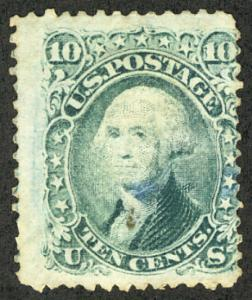 US #68 SCV $ 950.00 F/VF mint hinged, super color, small thin on shirt, wonde...