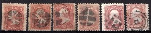 USA 1861-68 Selection of A25 used 6 Fancy Cancels Not Cked for Varieties $60.00