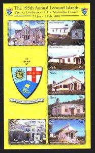 Nevis. 2001. Small sheet 1661-67. Methodist churches, architecture. MNH.