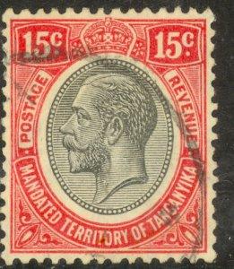 TANGANYIKA 1927-31 KGV 15c Red and Black Portrait Issue Sc 31 VFU