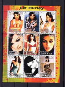 Tajikistan 2000 LIZ HURLEY English Actress and Model Sheetlet (9) MNH